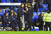 Stoke City manager Gary Rowett complains to the 4th official about the not given foul on Tom Ince (7) of Stoke City by Sam Baldock (9) of Reading after Mo Barrow (17) of Reading scored the equalising goal to make the score 2-2 during the EFL Sky Bet Championship match between Reading and Stoke City at the Madejski Stadium, Reading, England on 1 December 2018.
