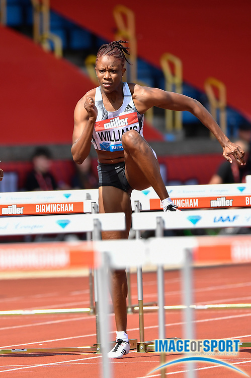 Danielle Williams (JAM) on her way to winning her heat of the women's 100m hurdles in a time of 12.53 during the Birmingham Grand Prix, Sunday, Aug 18, 2019, in Birmingham, United Kingdom. (Steve Flynn/Image of Sport)