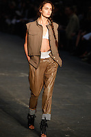 Karmen Pedaru walks the runway wearing Alexander Wang Spring 2010 collection during Mercedes-Benz Fashion Week in New York, NY on September 11, 2009
