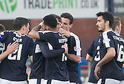 Dundee&rsquo;s Rory Loy in congraulated by Kane Hemmings  after putting the Dark blues in front - Dundee v Kilmarnock, Ladbrokes Scottish Premiership at Dens Park<br /> <br />  - &copy; David Young - www.davidyoungphoto.co.uk - email: davidyoungphoto@gmail.com