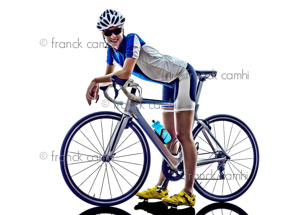 woman triathlon ironman athlete  cyclist cycling on white background
