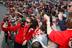Luke Ayling takes a selfie with fans in Lloyds Amphitheatre during the Bristol City open top bus parade to celebrate winning both the League 1 and Johnstone's Paint Trophy titles this season and promotion to the Championship - Photo mandatory by-line: Rogan Thomson/JMP - 07966 386802 - 04/05/2015 - SPORT - FOOTBALL - Bristol, England - Bristol City Bus Parade.