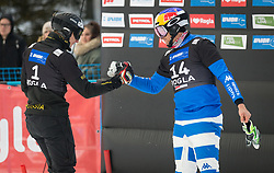 Sobolev Andrey and Fischnaller Roland during the men's Snowboard giant slalom of the FIS Snowboard World Cup 2017/18 in Rogla, Slovenia, on January 21, 2018. Photo by Urban Meglic / Sportida
