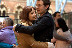 © Licensed to London News Pictures. 19/01/2012. London, U.K. Amy Hewis and boyfriend Matt Clark take pat in  world's Longest marathon hug attempt at St. Pancras station, London on January 19th, 2012. Competitors are attempting to break the Guinness World Record for the world's Longest hug. Photo credit : Rich Bowen/LNP