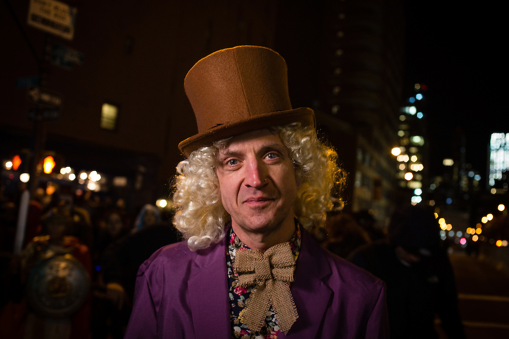 New York, NY - 31 October 2016. A man dressed as Willy Wonka, complete with Top Hat,  in the Greenwich Village Halloween Parade.
