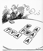 use in Alphabet agencies as a cartoon parody of FDR's New Deal using alphabet cards of the sort used to teach children to read.