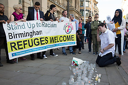 © Licensed to London News Pictures. 25/05/2017. Victoria Square, Birmingham, UK. Crowds gathered in Victoria Square, Birmingham, to show support for the people killed and injured in the previous evenings terrorist attack in Manchester.  Photo credit: Dave Warren/LNP