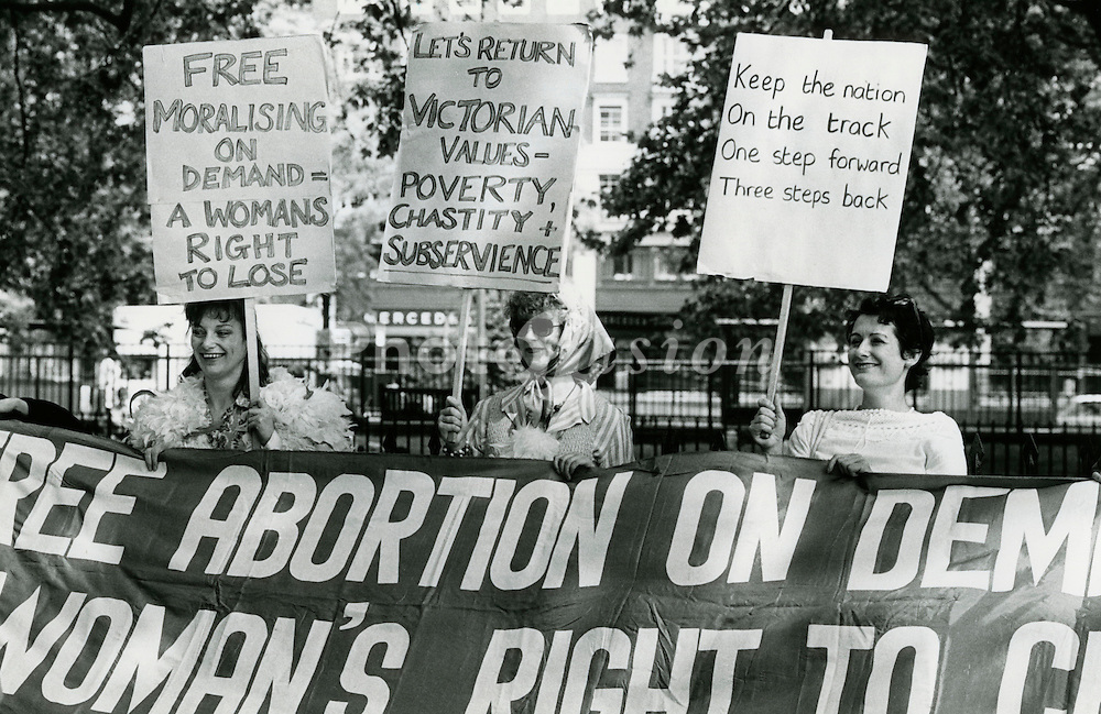 Ladies against Women' spoof organised by NAC - National Abortion Campaign; Hyde Park 25 June 1983; organised in response to SPUC - Society for Protection of Unborn Child rally,