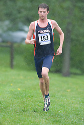 Steve Finley (183/University of Virginia).  The Lou Onesty Invitational Cross Country meet was hosted by the University of Virginia XC team and held at Panorama Farms near Charlottesville, VA on September 6, 2008.  Athletes endured rain and wind from Tropical Storm Hanna during the race.