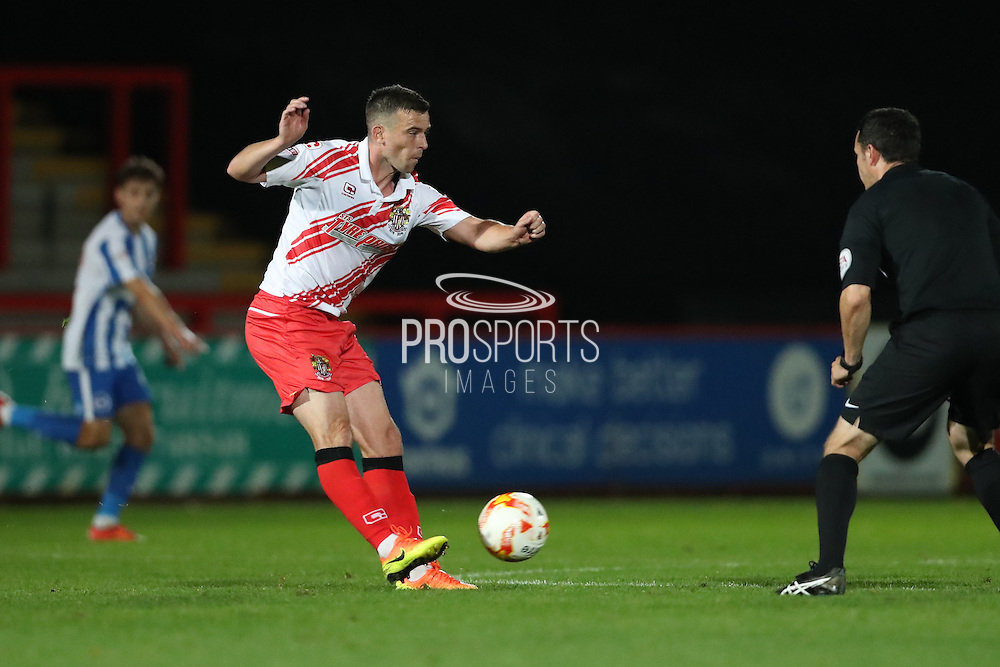Stevenage midfielder Steven Schumacher (8) during the EFL Trophy match between Stevenage and Brighton and Hove Albion at the Lamex Stadium, Stevenage, England on 4 October 2016.