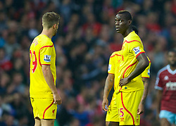 LONDON, ENGLAND - Saturday, September 20, 2014: Liverpool's Mario Balotelli looks dejected as West Ham United score the second goal during the Premier League match at Upton Park. (Pic by David Rawcliffe/Propaganda)