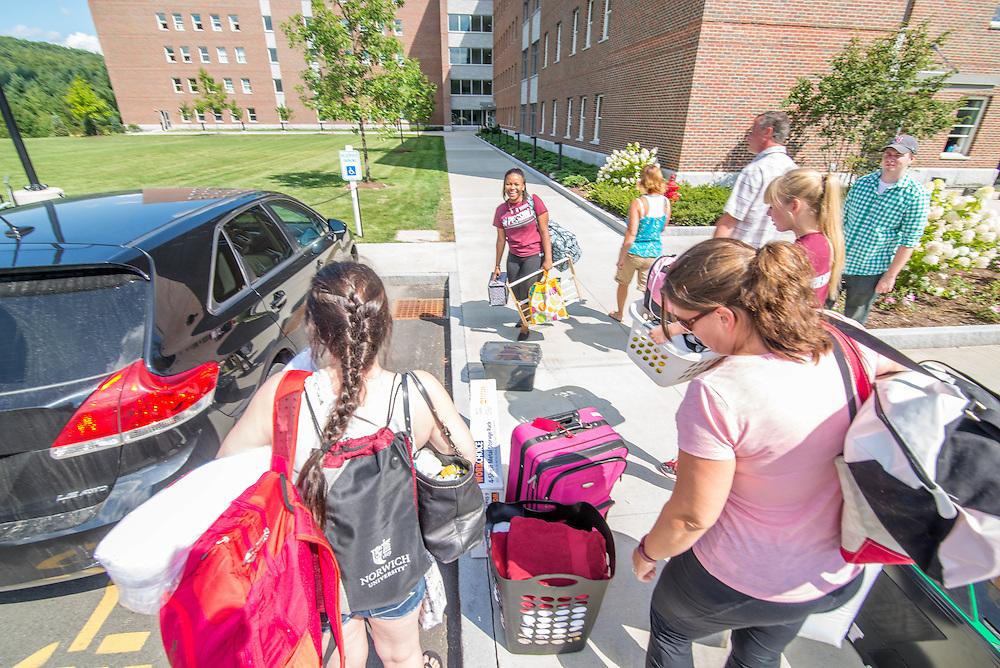 Civilian freshmen arrival day at Norwich University.