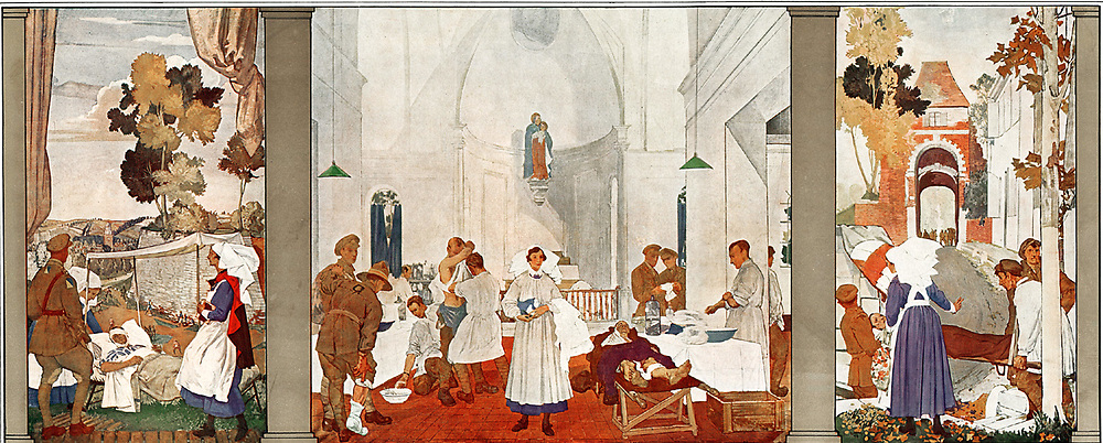 Third Canadian Stationary Hospital, France, 1918 After Gerald E. Moira. Canadian field hospital during World War I