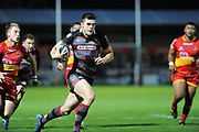 Edinburgh full back Kinghorn Blair runs in a try during the Guinness Pro 14 2017_18 match between Edinburgh Rugby and Dragons Rugby at Myreside Stadium, Edinburgh, Scotland on 8 September 2017. Photo by Kevin Murray.