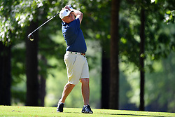 Jimmy Dunne tees off during the Chick-fil-A Peach Bowl Challenge at the Oconee Golf Course at Reynolds Plantation, Sunday, May 1, 2018, in Greensboro, Georgia. (Dale Zanine via Abell Images for Chick-fil-A Peach Bowl Challenge)