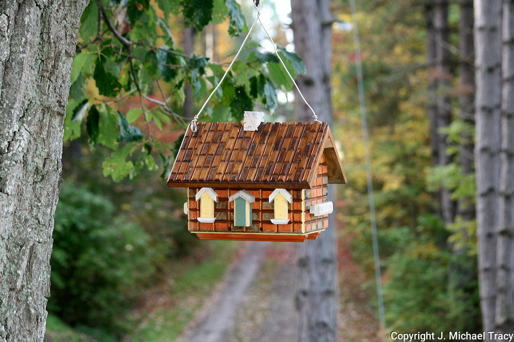 Hanging birdhouse near a country lane. Fall in Upstate New York.