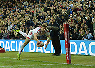 Tommy Makinson of England dives over in the corner but his try is ruled out during the Autumn International Series match at Elland Road, Leeds<br /> Picture by Richard Land/Focus Images Ltd +44 7713 507003<br /> 11/11/2018