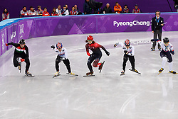 February 17, 2018 - Gangneung, South Korea - Short track skaters Shaolin Sandor Liu of Hungary, Hyojun Lim of Korea, Samuel Girard of Canada Yira Seo of Korea and John-Henry Krueger of the United States start the Men's Short Track Speed Skating 1000M finals at the PyeongChang 2018 Winter Olympic Games at Gangneung Ice Arena on Saturday February 17, 2018. (Credit Image: © Paul Kitagaki Jr. via ZUMA Wire)