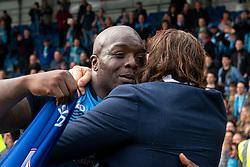 Adebayo Akinfenwa of Wycombe Wanderers hugs Wycombe Wanderers manager Gareth Ainsworth - Mandatory by-line: Ryan Crockett/JMP - 28/04/2018 - FOOTBALL - Proact Stadium - Chesterfield, England - Chesterfield v Wycombe Wanderers - Sky Bet League Two