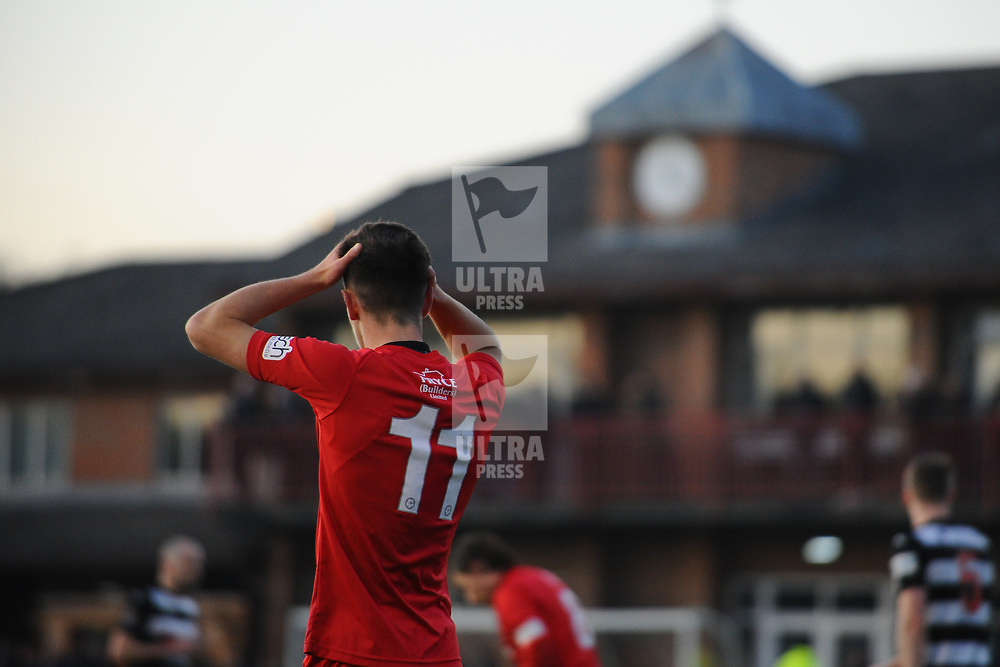 TELFORD COPYRIGHT MIKE SHERIDAN Ryan Barnett reacts after a chance goes wide during the Vanarama Conference North fixture between Darlington and AFC Telford United at Blackwell Meadows on Saturday, November 30, 2019.<br /> <br /> Picture credit: Mike Sheridan/Ultrapress<br /> <br /> MS201920-032