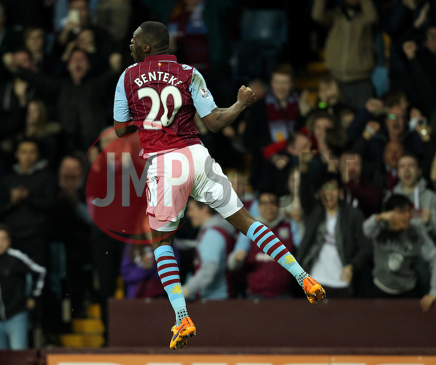 Aston Villa's Christian Benteke celebrates his third goal - Photo mandatory by-line: Robbie Stephenson/JMP - Mobile: 07966 386802 - 07/04/2015 - SPORT - Football - Birmingham - Villa Park - Aston Villa v Queens Park Rangers - Barclays Premier League