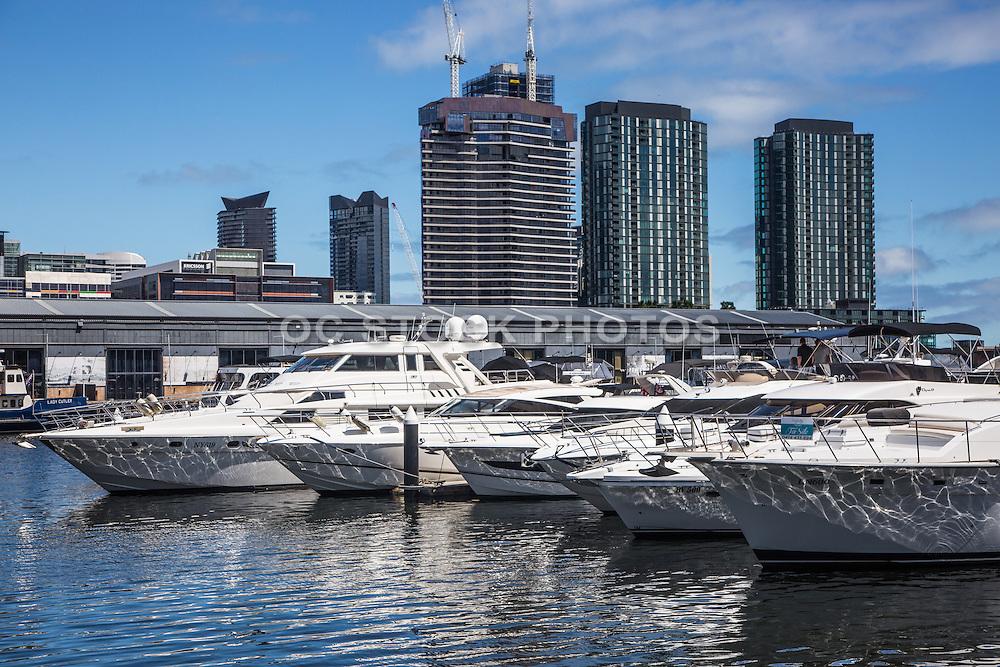 Yachts at Melbourne City Marina at Docklands