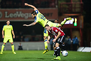 Brentford (22) Henrik Dalsgaard, Derby County (15) Bradley Johnson  during the EFL Sky Bet Championship match between Brentford and Derby County at Griffin Park, London, England on 26 September 2017. Photo by Sebastian Frej.