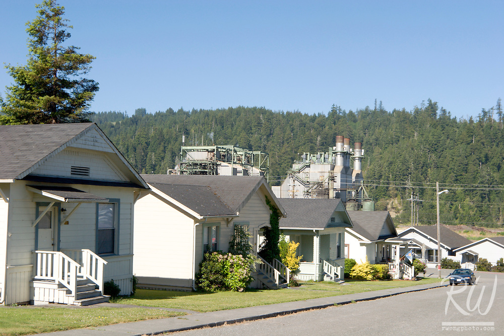 Pacific Lumber Mill Smokestack Behind Company-Owned Homes, Scotia, California