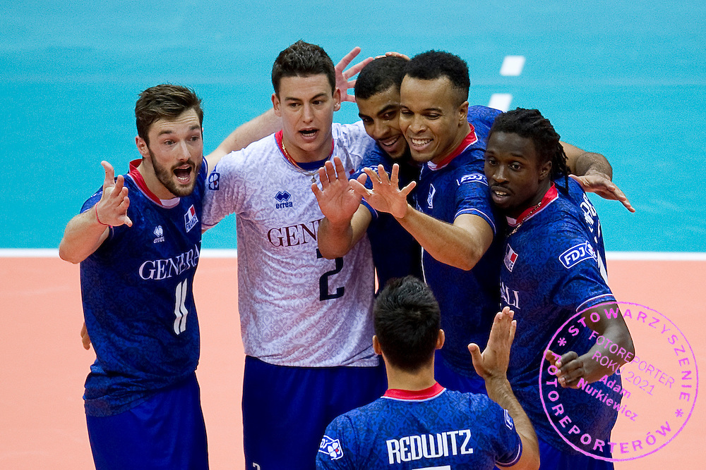 (L-R) Julien Lyneel and Jenia Grebennikov and Earvin Ngapeth and Gerald Hardy Dessources and Mory Sidibe all from France celebrate winning point during the 2013 CEV VELUX Volleyball European Championship match between France and Slovakia at Ergo Arena in Gdansk on September 20, 2013.<br /> <br /> Poland, Gdansk, September 20, 2013<br /> <br /> Picture also available in RAW (NEF) or TIFF format on special request.<br /> <br /> For editorial use only. Any commercial or promotional use requires permission.<br /> <br /> Mandatory credit:<br /> Photo by © Adam Nurkiewicz / Mediasport