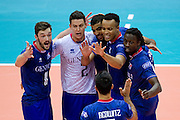 (L-R) Julien Lyneel and Jenia Grebennikov and Earvin Ngapeth and Gerald Hardy Dessources and Mory Sidibe all from France celebrate winning point during the 2013 CEV VELUX Volleyball European Championship match between France and Slovakia at Ergo Arena in Gdansk on September 20, 2013.<br /> <br /> Poland, Gdansk, September 20, 2013<br /> <br /> Picture also available in RAW (NEF) or TIFF format on special request.<br /> <br /> For editorial use only. Any commercial or promotional use requires permission.<br /> <br /> Mandatory credit:<br /> Photo by &copy; Adam Nurkiewicz / Mediasport
