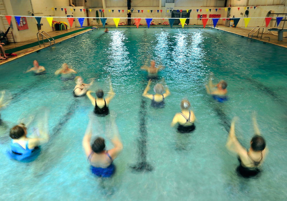 Gary Pearce leads a group of seniors in a water aerobics class at the YWCO on Wednesday, Feb. 9, 2011 in Athens, Ga.