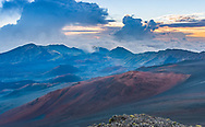 At the crater rim of Haleakala National Park, Maui, Hawaii.