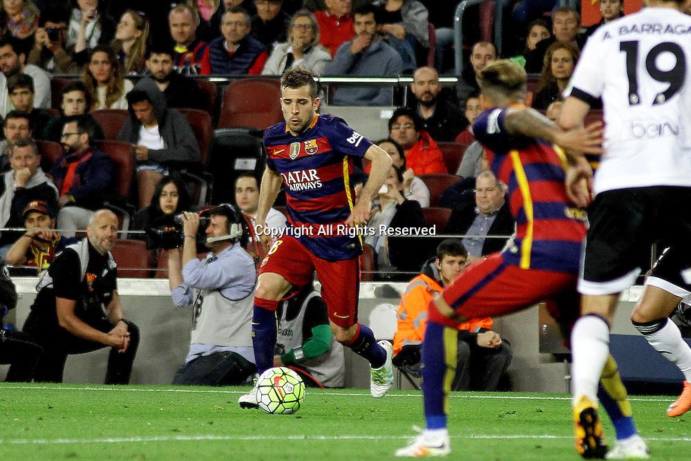 17.04.2016. Nou Camp, Barcelona, Spain. La Liga. Barcelona versus Valencia. Alba in action during the match