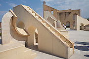 Scorpio Stairway and behind the Brihat Samrat Yantra Pisces astrological sign at The Observatory in Jaipur, Rajasthan, India