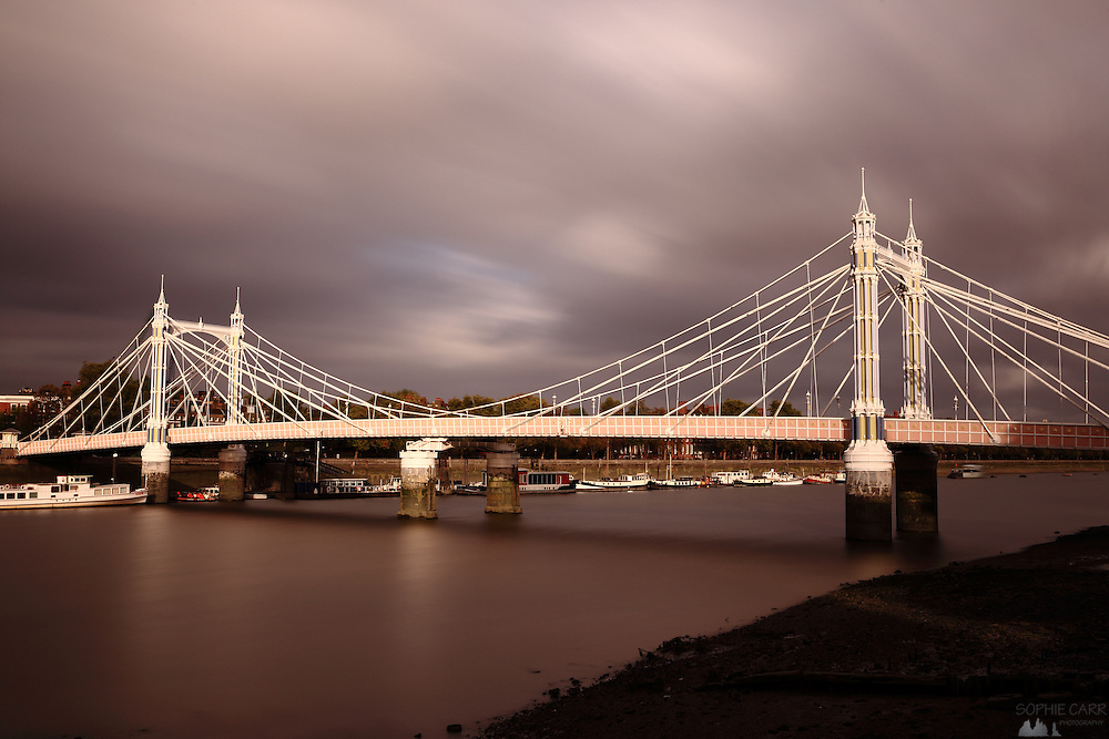 Albert Bridge long exposure on a windy day.