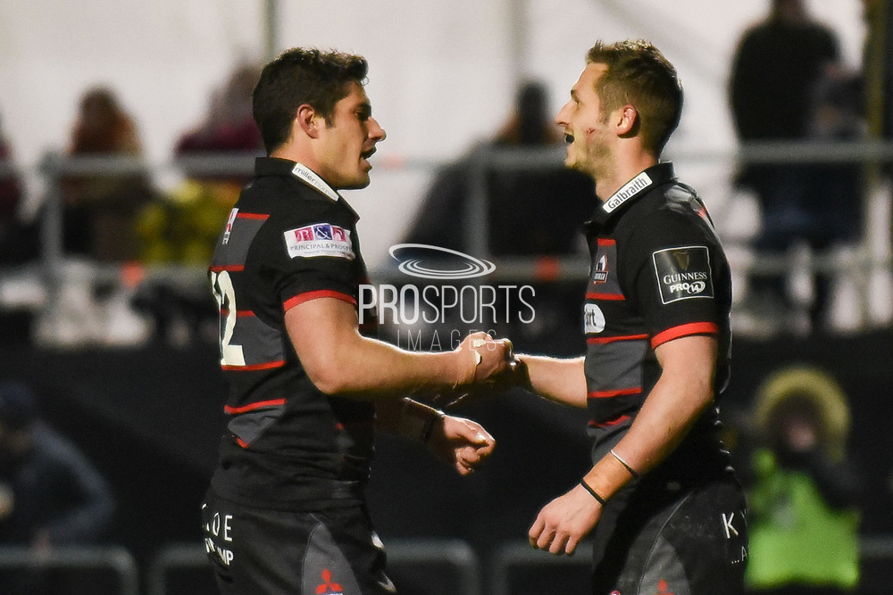 Try scorer Jason Tovey is congratulated by Glenn Bryce during the Guinness Pro 14 2017_18 match between Edinburgh Rugby and Ospreys at Myreside Stadium, Edinburgh, Scotland on 4 November 2017. Photo by Kevin Murray.