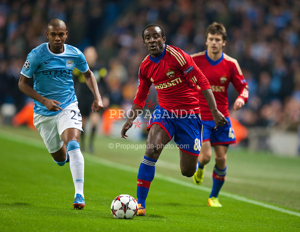 MANCHESTER, ENGLAND - Tuesday, November 5, 2013: CSKA Moscow's Seydou Doumbia in action against Manchester City during the UEFA Champions League Group D match at the City of Manchester Stadium. (Pic by David Rawcliffe/Propaganda)