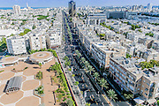 Elevated view of rooftops and Ibn Gabirol street, Tel Aviv, Israel
