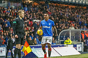 Alfredo Morelos is absolutely incensed with the official   during the William Hill Scottish Cup quarter final replay match between Rangers and Aberdeen at Ibrox, Glasgow, Scotland on 12 March 2019.