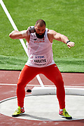 Great Britain, London - 2017 August 05: Michal Haratyk (AZS AWF Krakow) from Poland competes in men&rsquo;s shot put qualification during IAAF World Championships London 2017 Day 2 at London Stadium on August 05, 2017 in London, Great Britain.<br /> <br /> Mandatory credit:<br /> Photo by &copy; Adam Nurkiewicz<br /> <br /> Adam Nurkiewicz declares that he has no rights to the image of people at the photographs of his authorship.<br /> <br /> Picture also available in RAW (NEF) or TIFF format on special request.<br /> <br /> Any editorial, commercial or promotional use requires written permission from the author of image.