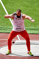 Great Britain, London - 2017 August 05: Michal Haratyk (AZS AWF Krakow) from Poland competes in men's shot put qualification during IAAF World Championships London 2017 Day 2 at London Stadium on August 05, 2017 in London, Great Britain.<br /> <br /> Mandatory credit:<br /> Photo by © Adam Nurkiewicz<br /> <br /> Adam Nurkiewicz declares that he has no rights to the image of people at the photographs of his authorship.<br /> <br /> Picture also available in RAW (NEF) or TIFF format on special request.<br /> <br /> Any editorial, commercial or promotional use requires written permission from the author of image.