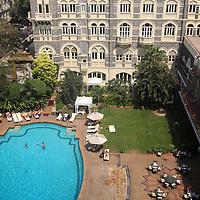 Asia, India, Mumbai. Taj Mahal Palace Hotel Pool, Mumbai.