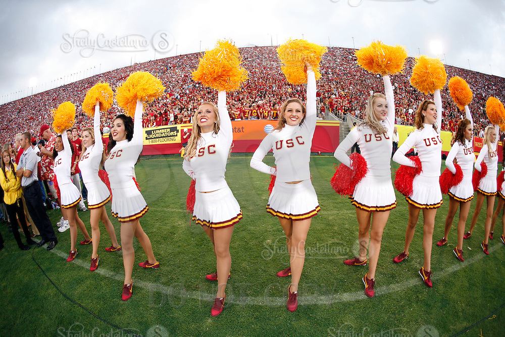4 October 2008:  Trojan Cheerleader Song Girls on the sidelines during the NCAA College Football Pac-10 conference USC Trojans 44-10 win over the University of Oregon Ducks at the Los Angeles Memorial Coliseum in Los Angeles, California.