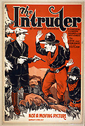 Theatre poster from the USA dated 1910. The intruder a powerful comedy drama of the East & West : the love and romance of an outlaw : by Robert J. Sherman died 1939.