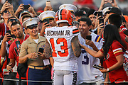 Cleveland Browns wide receiver Odell Beckham (13) signs autographs before an NFL football game against the San Francisco 49ers, Monday, Oct. 7, 2019, in Santa Clara, Calif. The 49ers defeated the Browns (Peter Klein/Image of Sport)