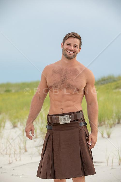 hot man in a kilt outdoors