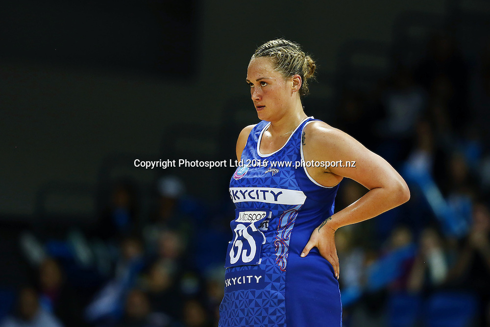 Cathrine Tuivaiti of the Mystics looks on. 2016 ANZ Championship, Northern Mystics v Waikato BOP Magic, The Trusts Arena, Auckland, New Zealand. 6 June 2016. Photo: Anthony Au-Yeung / www.photosport.nz