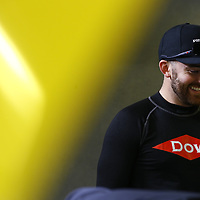 Austin Dillon (10) hangs out in the garage area during a rain delay for practice for the Lilly Diabetes 250 at Indianapolis Motor Speedway in Indianapolis, Indiana.