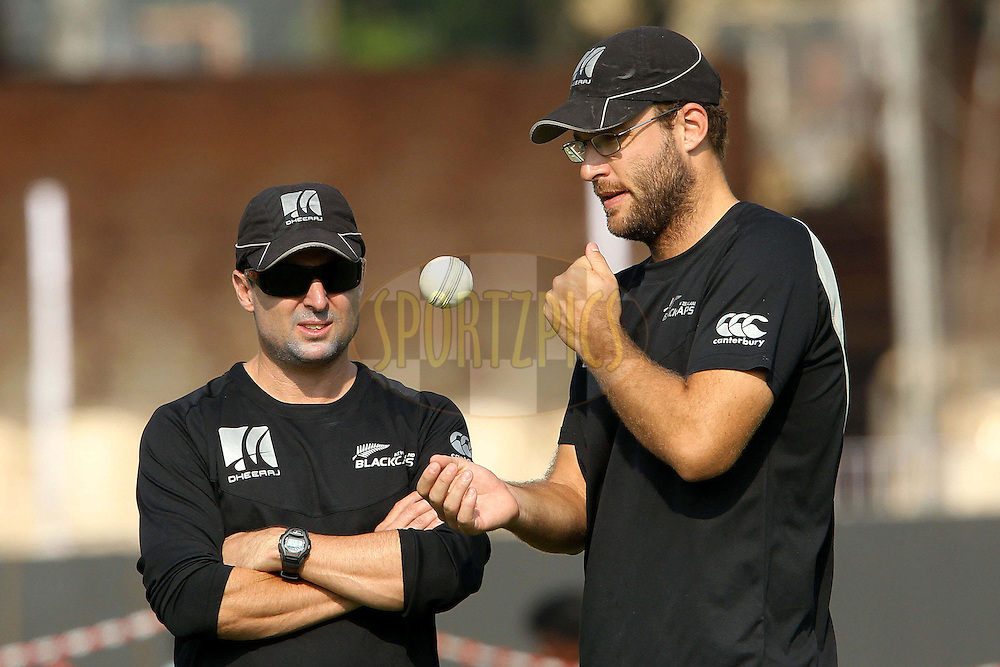 Daniel Vettori during the practice sessions held at the Reliance cricket stadium in Vadodara, Gujarat India on the 3rd December 2010..Photo by Ron Gaunt/BCCI/SPORTZPICS