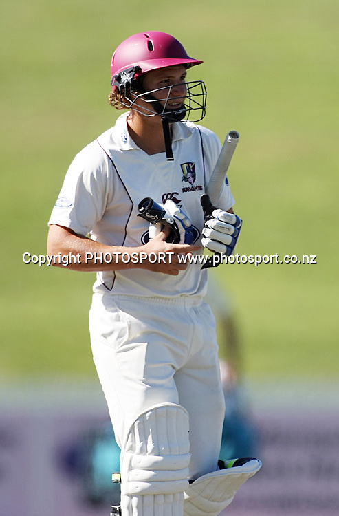 BJ Watling of the Knights walking back to the pavilion out for a Duck,Cricket, Northern Knights Vs The Auckland Ace's during day four of their Plunket Shield Game at Seddon Park in Hamilton, Thursday 17 March 2011.<br /> Photo: Dion Mellow / photosport.co.nz
